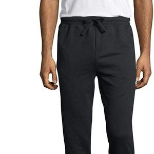 Hanes Mens Jogger Sweat Pants w/ Pockets Black 2XL